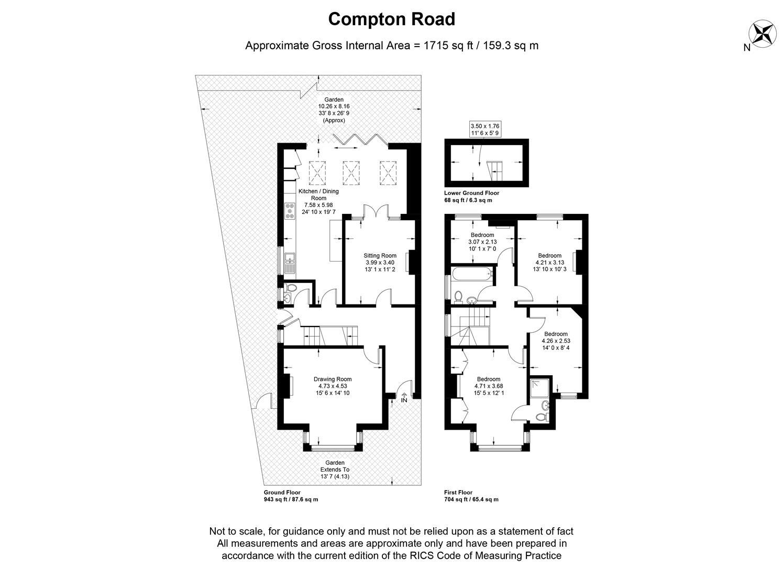 Floorplan for Compton Road, Wimbledon